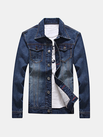 Fashion Casual Spring Autumn Korean Style Slim Double Chest Pockets Denim Jackets for Men