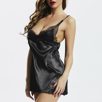 Sexy Deep V Spaghetti Strap Babydoll Satin Bowknot Nightdress For Women