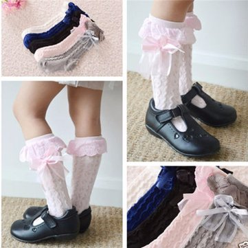 Toddler Kids Girl Pretty Cotton Lace Knee High Socks