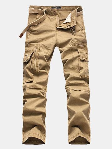 Mens Multi-pocket Cotton Cargo Pants