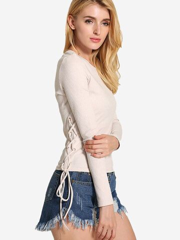Lztlylzt Women Casual Knitting Bandage O-neck Long Sleeve Tops