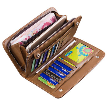 Practical 3-in-1 Wallet Bag 13 Card Slots Card Holder PU Leather Big Capacity Phone Bag