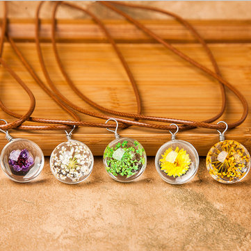 Wishing Ball Dried Flowers Artificial Crystal Pendant Clavicle Wax Rope Necklace