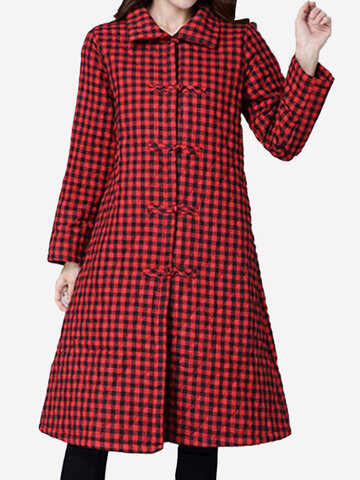 Women Vintage Plaid Long Sleeve Lapel Plate Buckles Pocket Trench Coats