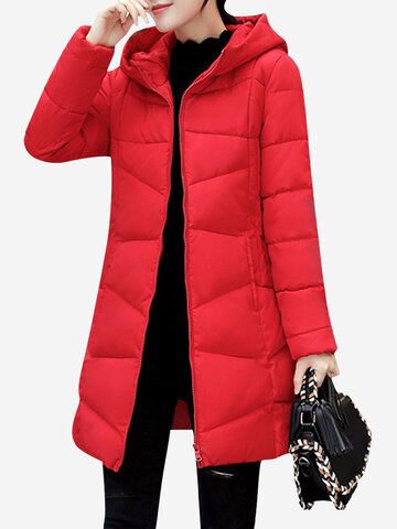 Casual Solid Color Women Long Thick Coats