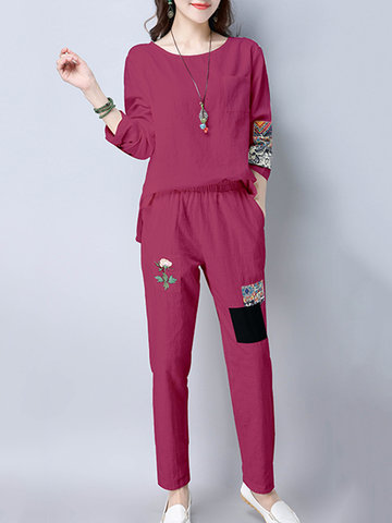 Casual Loose Patchwork Women Suits