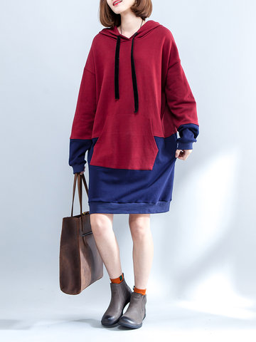 Casual Hooded Stitching Color Sweatshirts Dress For Women
