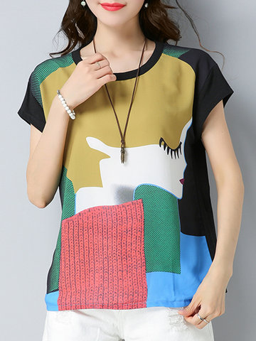 Vintage Splicing Ptinted O Neck Short Sleeves T-shirts For Women