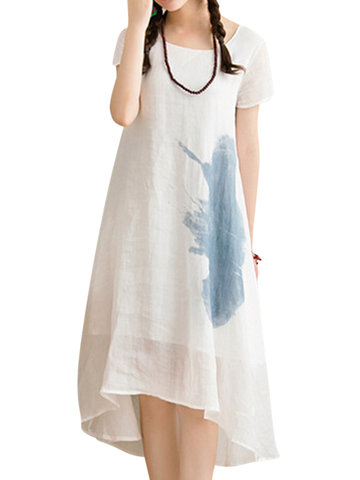 Casual Short Sleeves O-neck Ink Printed Dresses