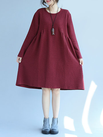 Casual Solid Color Loose Long Sleeve O-neck Women Dresses