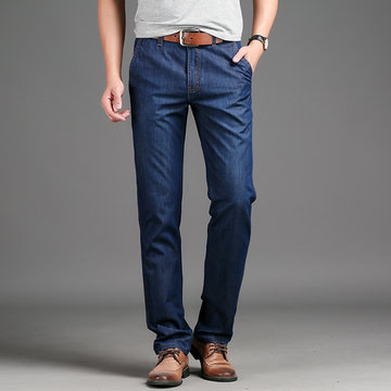 Thin Mid Waist Plus Size Jeans for Men