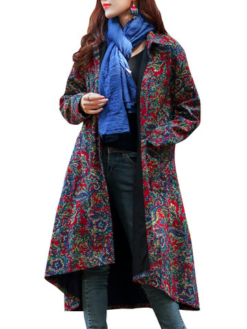 Folk Style Print Irregular Women Jackets