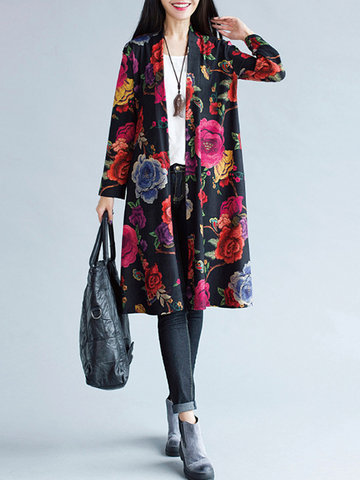 Vintage Loose Flower Print Long Sleeve Kimonos For Women