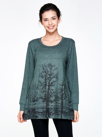 Diamante Print Long Sleeve Knitted Blouse