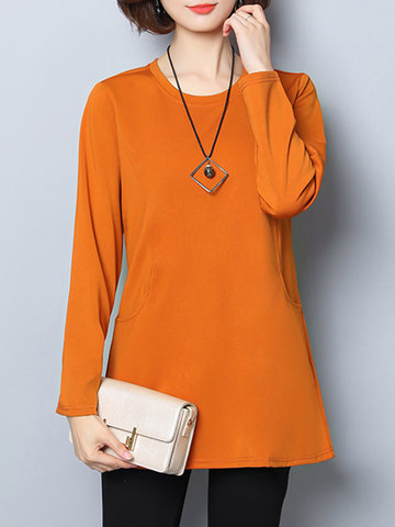 Casual Solid Color Stitching Pocket Long Sleeves Shirts For Women