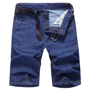 Летняя джинсовая пряжка длиной до колен плюс размер Свободные сплошные цветные короткие джинсы для мужчин