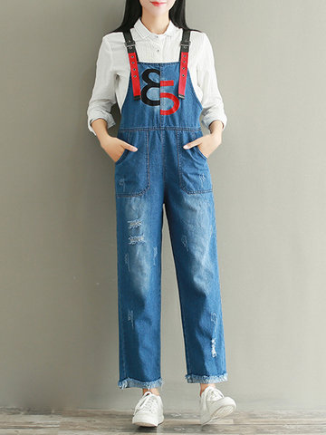Casual Patchwork Ripped Embroidery Loose Jumpsuits For Women