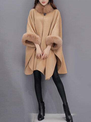 Faux Fur Irregular Women Cloak Coats