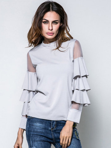 Sexy Lace Hollowed Out Ruffled Long Sleeve Women Blouses