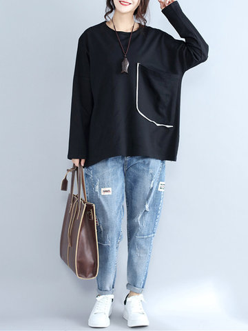 Loose Pocket Solid Long Sleeve Tops