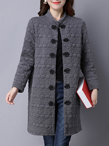 Vintage Chinese Button Pure Color Pocket Coats For Women