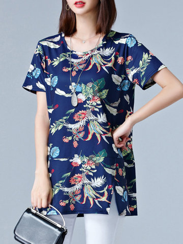 Casual Loose Floral Printed Short Sleeves T-shirts For Women