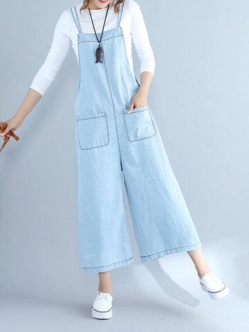 Casual Loose Solid Color Women Denim Wide Leg Jumpsuits