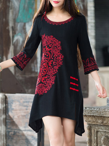 Chinese Vintage Embroidery Split Irregular Hem Buttons 3/4 Sleeve Dress
