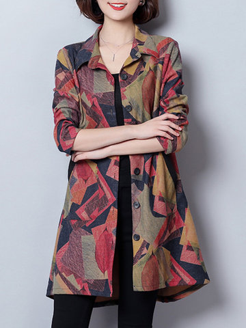 Casual Printed  Women Trench Coats
