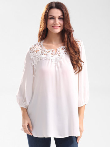 Casual Women Solid Lace Stitching Hollow Out O-Neck Tops