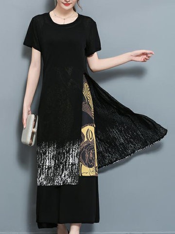 Women Casual Patchwork Two-Piece Maxi Slit Dresses