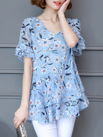 Country Style Printed Petal Sleeve Chiffon V Neck Shirts For Women