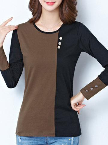 Patchwork Button Long Sleeve O-Neck Blouse