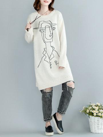 Casual Print Medium Long Sleeve O-Neck Sweater For Women