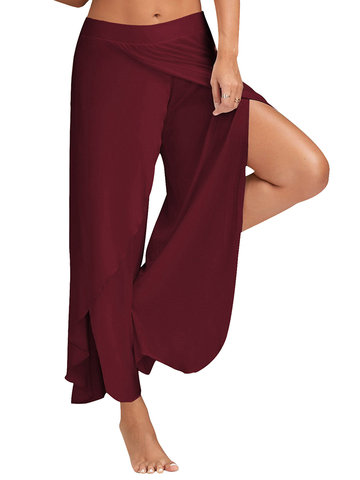 Casual Loose Solid Color Elastic Waist Slit Women Wide Leg P