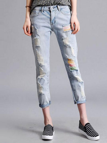 Casual Pockets Ripped Ninth Jeans