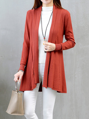 Casual Solid Long Sleeve Knitted Cardigans For Women