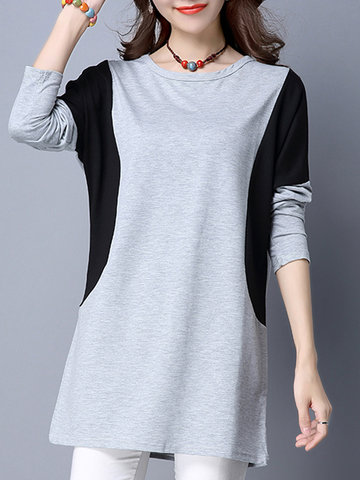 Casual Women Color Contrast Stitching Long Sleeve Blouse