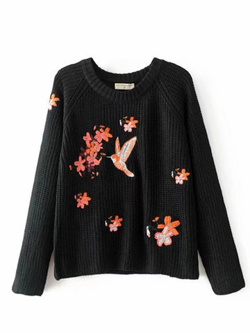 Crane Embroidery Women Casual Sweaters