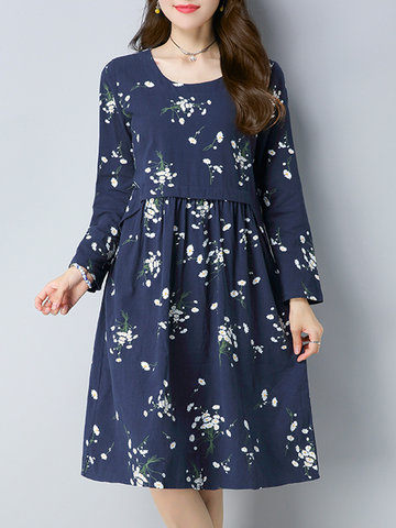 Casual Floral Printed O-NecK Long Sleeve Women Dresses