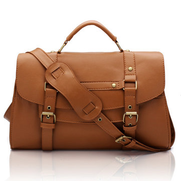 Women PU Leather Messenger Satchel Retro Briefcase Handbag