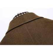 Scarf Wool Mid Long Business Casual Trench Coat Slim Fit Jackets for Men