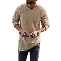 Mens Knitting Shirt Solid Long-Sleeved O-Neck Regular Fit Casual T-shirt